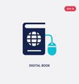 two color digital book icon from e-learning vector image vector image
