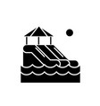 waterslides black icon sign on isolated vector image