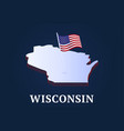 wisconsin state isometric map and usa national vector image vector image