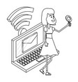 woman and email black and white vector image vector image