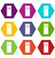 wooden window icon set color hexahedron vector image vector image