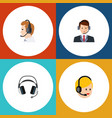 flat icon call set of earphone telemarketing vector image