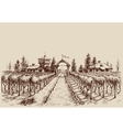 Vineyard drawing etch style Farm entrance and vine vector image