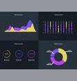 flat dashboard set of ui web infographic elements vector image