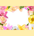 abstract frame with lily rose and other flowers vector image