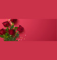 beautiful roses and golden confetti on red vector image vector image