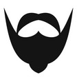big mustache and beard icon simple style vector image vector image
