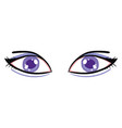 big violet eyes on white background vector image