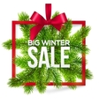 Big winter sale label with red ribbon and green vector image vector image