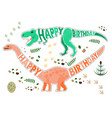 birthday card with dinosaur vector image vector image
