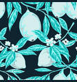blue colored lemon pattern vector image vector image
