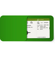 boarding pass inside of green envelope vector image vector image