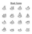 boat line icons graphic design vector image