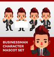 business man character mascot set logo icon vector image