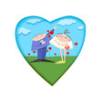 card of the day of valentine paper style vector image