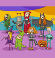 cartoon characters group at halloween party vector image vector image