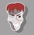 cartoon evil frankenstein head sticker vector image