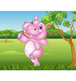 Cartoon hippo running and happy in the jungle vector image vector image