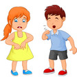 cartoon little boy coughing vector image