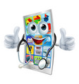 cartoon phone doctor man vector image vector image