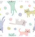 childish seamless pattern with cats creative vector image vector image