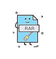computer rar file format type icon design vector image