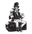 count dracula sitting on the coffin halloween vector image