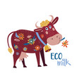 cute cow with flowers as a symbol fresh vector image