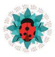 cute ladybug on green flower with wreath vector image vector image