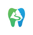 dental with mountain logo template vector image vector image