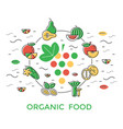 digital green red yellow vegetable icons set vector image vector image