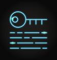 digital key icon in neon line style vector image vector image
