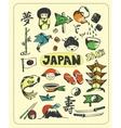 Doodle set of Japan vector image