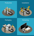 electronics factory isometric composition vector image