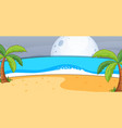 empty beach landscape scene at night with big moon vector image vector image