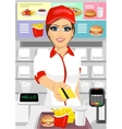 female cashier at fast food restaurant vector image vector image