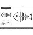 fishbone line icon vector image vector image
