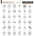 furniture thin line web icons set outline stroke vector image vector image