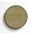 Gold sequin circle button on white background vector image