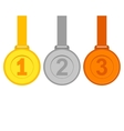 Gold silver and bronze medals vector image vector image