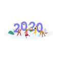 group cute happy tiny people celebrating new vector image vector image