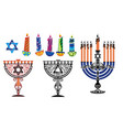 hanukkah background with menorah and david vector image vector image
