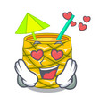 in love pineapple fruit juice on character drink vector image vector image