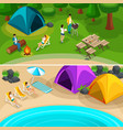 isometric expedition travel hiking 2 horizontal vector image