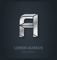 Letter A elegant silver font Template for company vector image