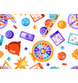 lottery and bingo seamless pattern icons vector image vector image
