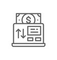 online payment mobile banking line icon vector image