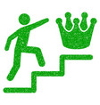 person steps to crown icon grunge watermark vector image