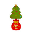 present sack with a christmas tree vector image vector image