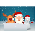 santa claus with reindeer and snowman in winter la vector image vector image